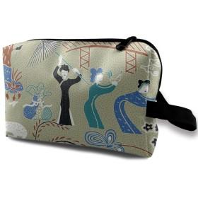和風 和柄 化粧バッグ 収納袋 女大容量 化粧品クラッチバッグ 収納 軽量 ウィンドジップ
