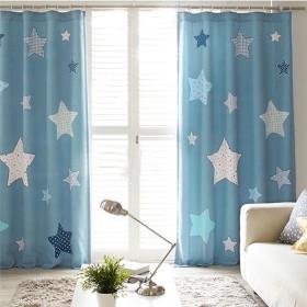 OSONA 洋式 簡約 星 プリント 可愛い シンプル セミオーダー カスタマイズ 遮光カーテン ホーム おしゃれ インタリア 子供部屋 飾り物 寝室飾り 客間飾り UVカット 仕切り 遮像 花柄 二色 8サイズ ブルー