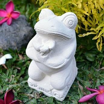 カエル 石像 プルメリア 15cm 【 かえる 置物 石彫り ストーン アジアン雑貨 】