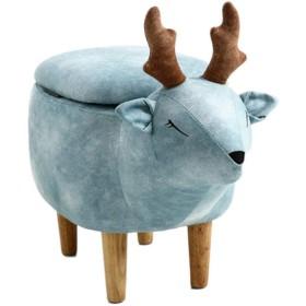 【良木】オットマン アニマルスツール 動物収納スツール 玄関 椅子 ベンチソファー 収納家庭用ソリッドウッドスツール、創造的な鹿のスツール、子供のソファのベンチ、ファッションスツール いす サイズ:633441cm (ブルー)