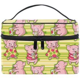収納ポーチ 通勤 出張 旅行 大容量 かわいい豚の飲み物軽量 携帯 便利