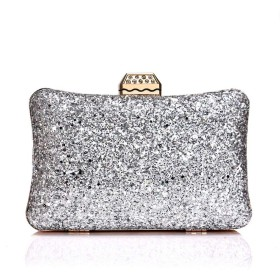 婦人用バッグ 女性のイブニングバッグの結婚式の財布の女性イブニングバッグのクラッチの財布 (色 : 銀)