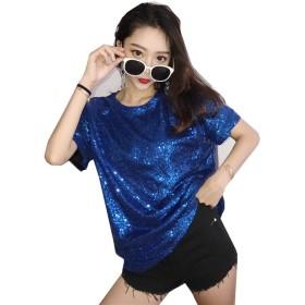 cnstone レディース ユニセックス キラキラ スパンコール Tシャツ 半袖 無地 スパンコール衣装 ダンス衣装 ヒップホップ HIPHOP ステージ衣装 ビッグTシャツ 派手 個性的 目立つ メンズ (ブルー)