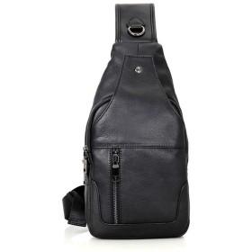 辽阳世纪电子产品贸易中心 メンズスリングバッグ、レザーチェストバッグクロスボディショルダービジネスバックパックアウトドアデイパック、ハイキング用スポーツ (色 : 黒)
