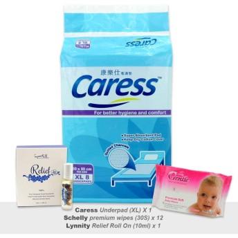 Caress Diapers 1×スーパープロテクトアンダーパッドサイズfreeエッセンシャルオイルロールオンとxl愛撫+ 12×プレミアムジェントルソフトワイプ(30代)