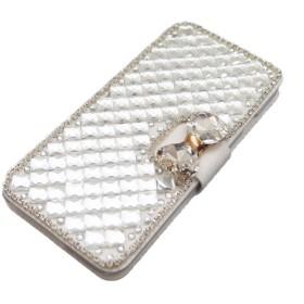 ● 手帳型 キラキラ リボン付き ストーンデコ iPhoneケース (iPhone6plus, ホワイト)