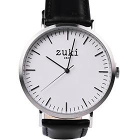 手作り腕時計ブラックレザーバンド–SwissクオーツMovement–Men 's and Women 's–カジュアル、ファッション腕時計–Brushedシルバーwithホワイト–by Zuki