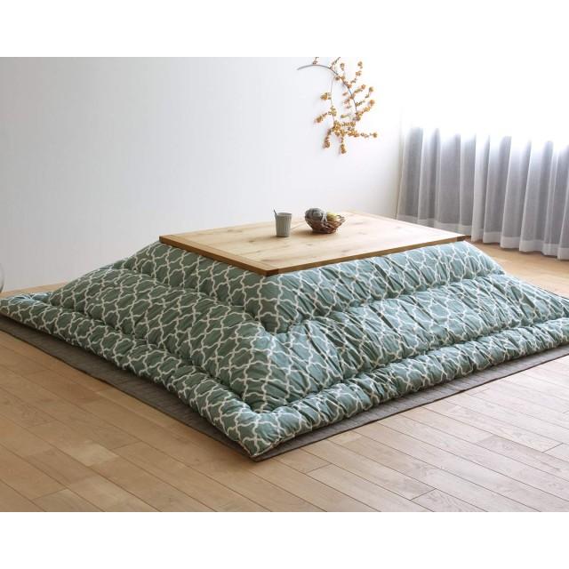 モロッカン柄 こたつ布団 厚掛け単品 185cm×235cm 「長方形105cm」用 ミストグリーン