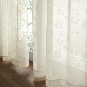 [ベルメゾン] レースカーテン ミラー 洗える リーフ アイボリー 約100×148(2枚)