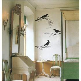 Wuyyii 枝にカラスのハロウィン装飾ビニール壁デカール取り外し可能なウォールステッカー用リビングルーム75×95センチ