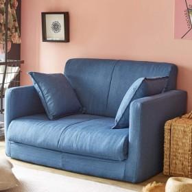 ソファーベッド ソファー 生活雑貨 脚を伸ばしてゆったり寝れるソファーベッド 3つ折りコンパクトタイプ (2P, ネイビー)