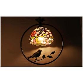 LED chandelier Tiffany glass chandelier creative European glass wrought iron chandelier Mediterranean round American restaurant living room chandelier button