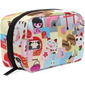 招き猫 歌舞伎 化粧ポーチ メイクポーチ 機能的 大容量 化粧品収納 小物入れ 普段使い 出張 旅行 メイク ブラシ バッグ 化粧バッグ
