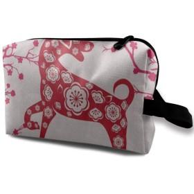 明けましておめでとうございます犬桜 ポーチ 旅行 化粧ポーチ 防水 収納ポーチ コスメポーチ 軽量 トラベルポーチ25cm×16cm×12cm