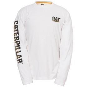 (キャタピラー) Caterpillar メンズ Custom ロゴ入り 長袖 Tシャツ ロンT カットソー (L) (ホワイト)