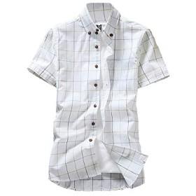 送料無料シャツ メンズ カジュアルシャツ 半袖 春 夏 チェック柄シャツ ボタンダウン チェック メンズファッション (L, ホワイト)