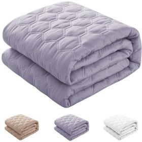 敷きパッド 綿100% ベッドパッド 四隅ズレ防止ゴムバンド付き パッドシーツ 丸洗いできる 防ダニ 抗菌防臭 (グレー, セミダブル・120X200cm)
