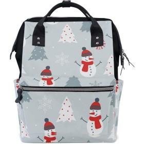 ママリュック クリスマス 雪だるま かわいい ミイラバッグ デイパック レディース 大容量 多機能 旅行用 看護バッグ 耐久性 防水 収納 調整可能 リュックサック 男女兼用