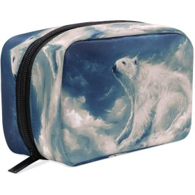 Carrozza 化粧ポーチ メイクボックス ポーチ 仕切り レディース 女の子 学生 おしゃれ 熊 動物 雲 化粧バッグ メイクポーチ 化粧ボックス コスメバッグ 小物ケース かわいい