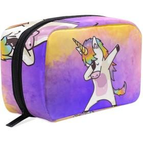 ユニコーン 化粧ポーチ メイクポーチ 機能的 大容量 化粧品収納 小物入れ 普段使い 出張 旅行 メイク ブラシ バッグ 化粧バッグ