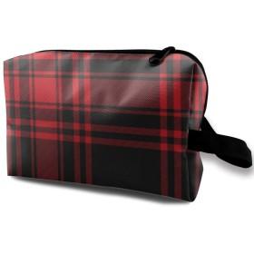 メイクポーチ 黒と赤の格子 トラベルポーチ シングルファスナーポーチ 大容量 トラベル コンパクト 旅行収納バック 化粧品収納 便利グッズ 旅行・出張・家庭用