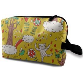 化粧ポーチ 嬉しい猫 収納ポーチ 化粧バッグ 多機能ポーチ 大容量 小物入れ 軽量 出張 旅行用品 バスルームポーチ トラベルポーチ 防水仕様 洗面用具 男女兼用