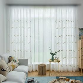WPKIRA レースカーテン 鳥の模様 刺繍 透けない UVカット薄手のカーテン おしゃれ 自然に 換気 半遮光 窓 部屋 寝室 ドア 洗濯可能 1組2枚入 幅150cm×丈178cm