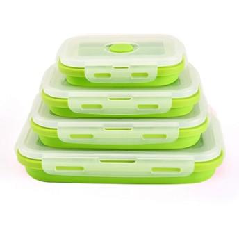 HUISEN&HosHo折り畳み式弁当箱 シリコーン制 密封保存容器 角型 4サイズセット電子レンジ 対応 冷蔵庫 携帯便利 グリーン