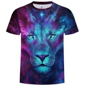 Nanwugao 3D Tシャツ、半袖TシャツノベルティライオンアニマルクルーネックグラフィックカジュアルプリントTシャツ (Color : Colorful, サイズ : XXXXXXL)
