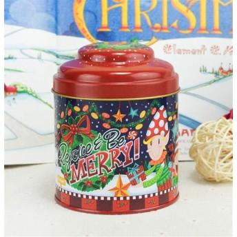ファミリーヘルパー ポータブルトラベルポット茶キャニスターギフト収納ボックス茶缶クリスマスティンプレート(赤)