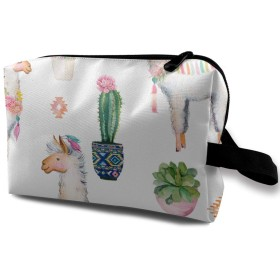 アルパカとひまわり 化粧バッグ 収納袋 女大容量 化粧品クラッチバッグ 収納 軽量 ウィンドジップ