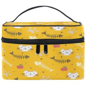 Anmumi 化粧ポーチ メイクポーチ ボックス 猫柄 ゴールド 収納ケース 仕切り 手提げ 大容量 かわいい おしゃれ レディース 女の子 機能的 ポーチ 小物入れ 旅行 出張 プレゼント