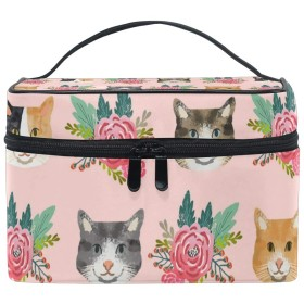 メイクポーチ 猫の顔 花柄 化粧ポーチ 化粧箱 バニティポーチ コスメポーチ 化粧品 収納 雑貨 小物入れ 女性 超軽量 機能的 大容量