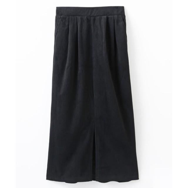 コーデュロイ素材 前スリットナロースカート (ひざ丈スカート)Skirts, 裙子