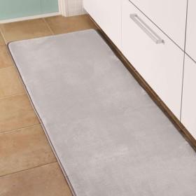 洗える フランネル キッチンマット 約60×180cm ムジ柄 ライトグレー A707-180KMAT-LGY