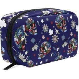 カラフルな頭蓋骨 化粧ポーチ メイクポーチ 機能的 大容量 化粧品収納 小物入れ 普段使い 出張 旅行 メイク ブラシ バッグ 化粧バッグ