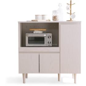 LOWYA 下段単品 食器棚 レンジ台 スライド棚 可動棚4枚 キッチン 幅90 ホワイトウォッシュ