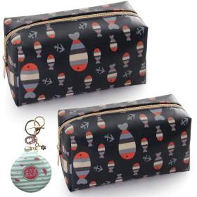 ミラーキーホルダー付きのかわいい旅行化粧品バッグセット-2パック長方形ジッパー化粧バッグ財布-女性用ポータブルトイレタリーオーガナイザー収納ポーチ女の子 (魚)