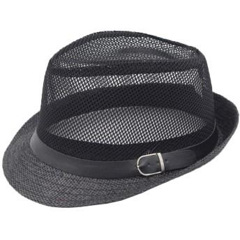 夏のハイハット男性中年の太陽の帽子編まれたメッシュ帽子ジャズ帽子古い帽子 (色 : 黒)