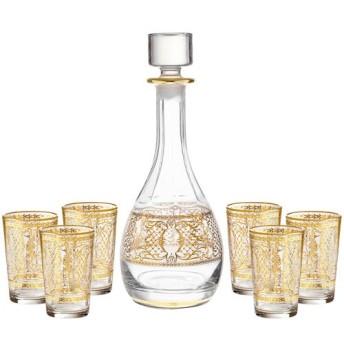 ローズのGlassware装飾ワイングラスとデカンタセット–7ピース–14Kゴールドアクセント。