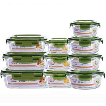 フタ付きガラス製食品収納容器 - フタ付き漏れ防止食品収納容器 - 透明フタ付きガラス製食器収納容器BPAフリー(10個入り),Green