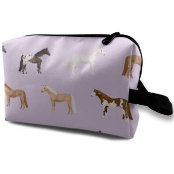 化粧ポーチ コンパクトサイズ,馬のコート馬の品種馬生地Purple_3450、オックスフォード布カラフルバッグミニ旅行
