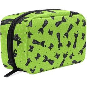 ハロウィン 黒の猫 化粧ポーチ メイクポーチ 機能的 大容量 化粧品収納 小物入れ 普段使い 出張 旅行 メイク ブラシ バッグ 化粧バッグ