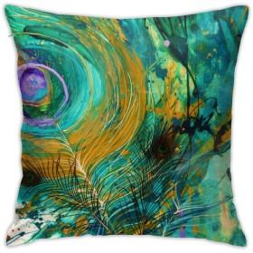 魅力的な芸術 孔雀 鳥 羽 アート クッションカバー 抱き枕カバー 装飾枕カバー 幾何学的 印刷両面 おしゃれ 45×45cm