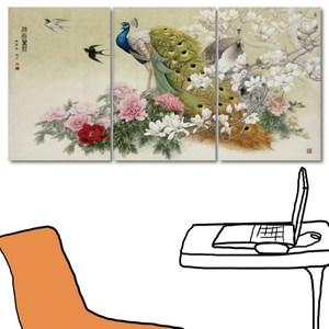 24mama掛畫-三聯式 吉祥家飾 孔雀 花卉 水墨風無框畫-40x60cm