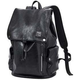 HIMOE リュックサック バックパック 革製 メンズ ブラック PCバッグ 通学 通勤 旅行 (AZ543)