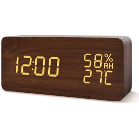 置き時計 目覚まし時計 LED時計 アラームクロック Fomobest 音声感知 カレンダー付き 温度湿度計 2つの給電方法 USB給電/乾電池 省エネ 明るさ調節 記憶機能 日本語説明書付き 卓上寝室用(直方体・ブラウン)
