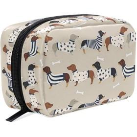 ダックスフント 小紋 化粧ポーチ メイクポーチ 機能的 大容量 化粧品収納 小物入れ 普段使い 出張 旅行 メイク ブラシ バッグ 化粧バッグ
