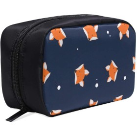 XHQZJ メイクポーチ 狐 ボックス コスメ収納 化粧品収納ケース 大容量 収納 化粧品入れ 化粧バッグ 旅行用 メイクブラシバッグ 化粧箱 持ち運び便利 プロ用