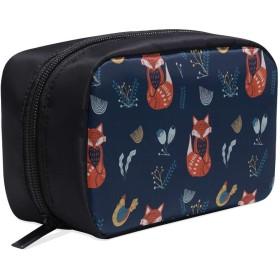 CWSGH メイクポーチ かわいいキツネや花 ボックス コスメ収納 化粧品収納ケース 大容量 収納 化粧品入れ 化粧バッグ 旅行用 メイクブラシバッグ 化粧箱 持ち運び便利 プロ用